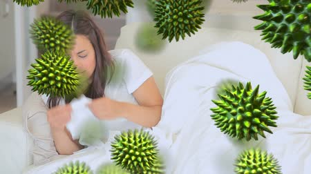 choroba : Animation of green 3d viruses with an ill Caucasian woman coughing and blowing her nose in the background
