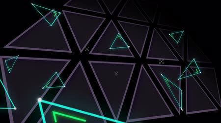desenli : Animation of blue triangles flickering on a triangle patterned dark background Stok Video
