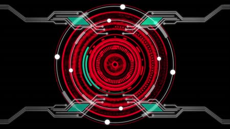 entegre : Animation of bright red rotating circles and data processing on a black background