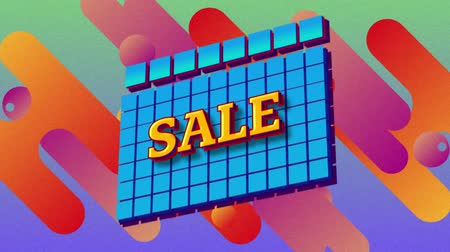 flash sale : Animation of the word Sale in yellow letters on blue squares with brightly coloured flashes on a purple background