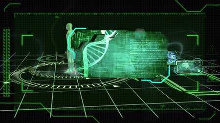 geny : Animation of a green revolving human body and a DNA strand with medical data on a black background