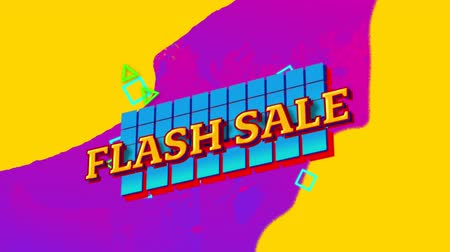 nineties : Animation of the words Flash Sale in yellow letters on blue squares with pink to yellow painted background
