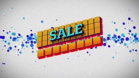 azaltmak : Animation of the word Sale in blue letters on yellow squares with blue dots on a white background
