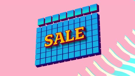 terms : Animation of the word Sale in yellow letters on blue squares with blue to yellow waves on a pink background