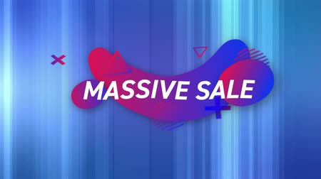 terms : Animation of the words Massive Sale in white letters on a blue background with blue and red abstract shapes
