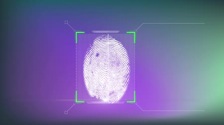 отпечаток пальца : Animation of a fingerprint being scanned on a green to purple background Стоковые видеозаписи