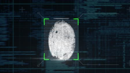 impressão digital : Animation of a fingerprint being scanned and data processing on a black background