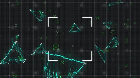 escopo : Animation of green triangles and scopes moving and flickering on a grid and black background