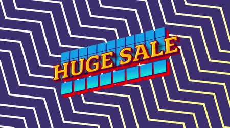 cikcak : Animation of the words Huge Sale in yellow letters on blue squares with a purple and white zig zag on an purple background