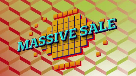 desenli : Animation of the words Massive Sale in blue letters on yellow squares with a 3d orange patterned background