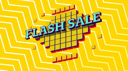 nineties : Animation of the words Flash Sale in blue letters on yellow squares with a yellow and white zig zag on a yellow background