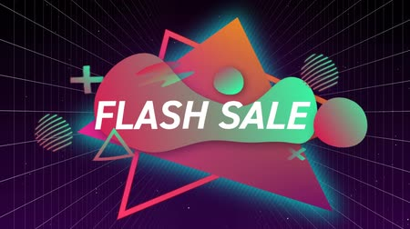 flash sale : Animation of the words Flash Sale in white letters on a black background with pink and green abstract shapes and glowing triangles Stock Footage