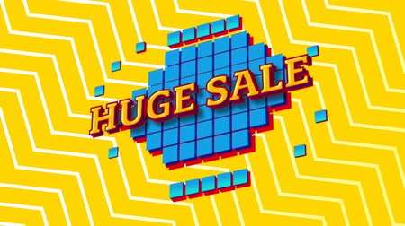 nineties : Animation of the words Huge Sale in yellow letters on blue squares with a yellow and white zig zag on a yellow background