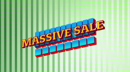nineties : Animation of the words Massive Sale in yellow letters on blue squares with green stripes in the background