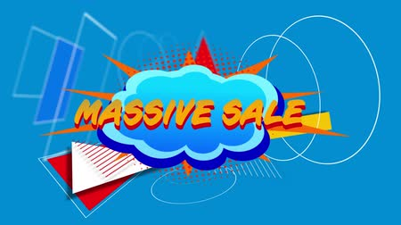 afbouw : Animation of the words Massive Sale in yellow letters on a cloud shaped banner on a blue background with shapes