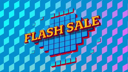 terms : Animation of the words Flash Sale in yellow letters on blue squares on pink and purple patterned background Stock Footage