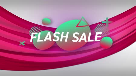 flash sale : Animation of the words Flash Sale in white letters on a pink curved line with colourful shapes moving in the background