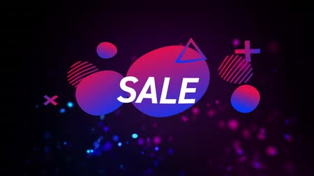 terms : Animation of the word Sale in white letters on a black background with purple and pink abstract shapes and glitter