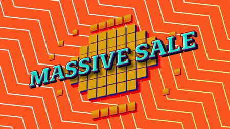 cikcak : Animation of the words Massive Sale in blue letters on yellow squares with an orange and white zig zag on an orange background