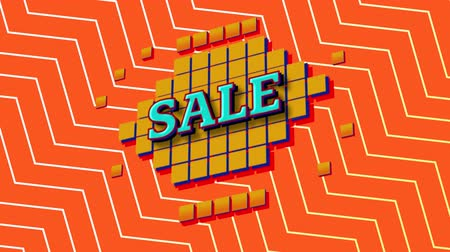 cikcak : Animation of the word Sale in blue letters on yellow squares with an orange and white zig zag on an orange background