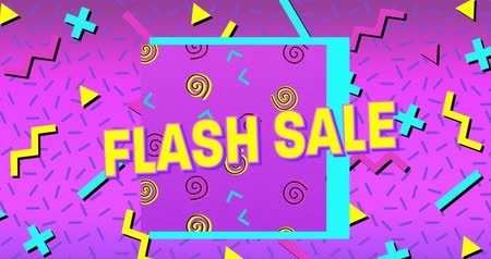 flash sale : Animation of the words Flash Sale in yellow letters with a purple square and brightly coloured shapes on a purple background 4k