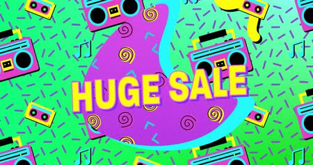 hilâl : Animation of the words Huge Sale in yellow letters with a purple crescent and brightly coloured tape recorder and tape icons, abstract shapes on a blue background 4k Stok Video