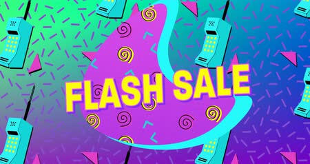 flash sale : Animation of the words Flash Sale in yellow letters with a purple crescent and brightly coloured mobile phone icons and moving abstract shapes on a green to purple background 4k
