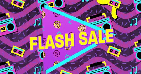brilhantemente : Animation of the words Flash Sale in yellow letters with a purple triangle and brightly coloured tape recorder and tape icons with purple waves in the background 4k
