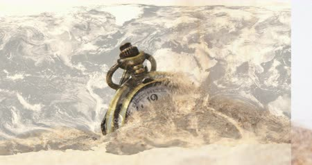 antiquado : Animation of a pocket watch covered by sand 4k