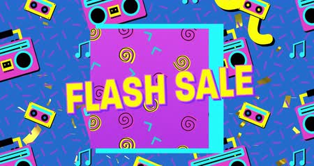 gravador : Animation of the words Flash Sale in yellow letters with a purple square and brightly coloured tape recorder and tape icons, abstract shapes on a blue background 4k Vídeos