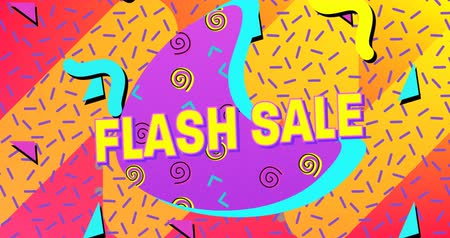 hilâl : Animation of the words Flash Sale in yellow letters with a purple crescent and brightly coloured abstract shapes on a pink and yellow background 4k Stok Video