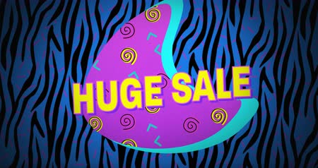 azaltmak : Animation of the words Huge Sale in yellow letters with a purple crescent and brightly coloured abstract shapes on a blue and black zebra print background 4k Stok Video