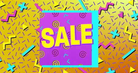 terms : Animation of the word Sale in yellow letters with a purple square and brightly coloured shapes on a yellow background 4k
