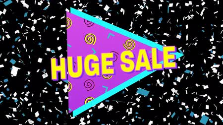 brilhantemente : Animation of the words Huge Sale in yellow letters with a pink triangle and brightly coloured abstract shapes with confetti falling on a black background