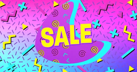hilâl : Animation of the word Sale in yellow letters with a purple crescent and brightly coloured abstract shapes on a pink to blue background 4k Stok Video