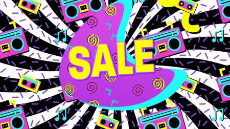 afbouw : Animation of the word Sale in yellow letters with a pink crescent and brightly coloured abstract shapes and tape icons on rotating black and white stripes in the background