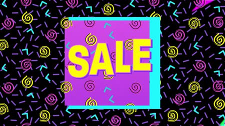 brilhantemente : Animation of the word Sale in yellow letters with a pink square and brightly coloured abstract shapes and colourful flashes on a purple background Vídeos