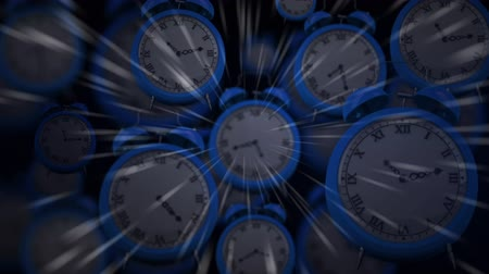 быстрый : Animation of fast moving alarm clocks with light trails on a black background
