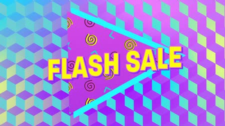 desenli : Animation of the words Flash Sale in yellow letters with a pink triangle and brightly coloured abstract shapes with patterned multi coloured background Stok Video