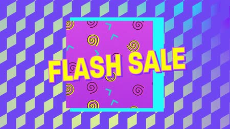 flash sale : Animation of the words Flash Sale in yellow letters with a pink square and brightly coloured abstract shapes with patterned multi coloured background