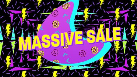 hilâl : Animation of the words Massive Sale in yellow letters with a pink crescent and brightly coloured abstract shapes with moving colourful triangles on a black background Stok Video