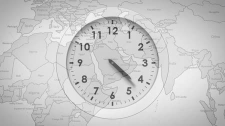 finanse : Animation of a fast moving clock with world map in the background