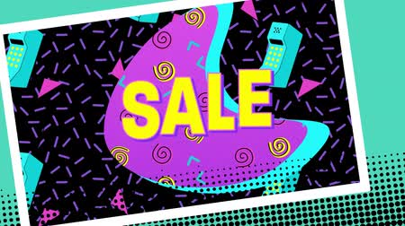 hilâl : Animation of the word Sale in yellow letters with a pink crescent and brightly coloured abstract shapes with mobile phone icons on a black background