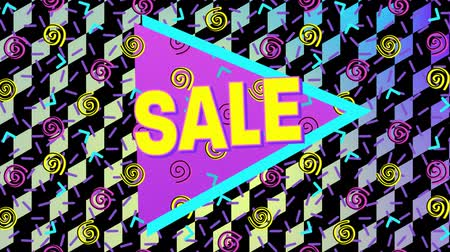 desenli : Animation of the word Sale in yellow letters with a pink triangle and brightly coloured abstract shapes with patterned multi coloured background