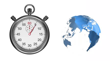 cronômetro : Animation of a ticking stopwatch and a blue and white globe spinning on a white background Stock Footage