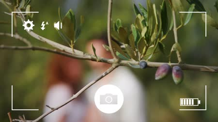 modo : Animation of a young Caucasian man and woman embracing in a garden, seen on a screen of a smartphone in picture mode with icons in the foreground, defocused Stock Footage