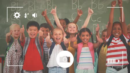 modo : Animation of a portrait of multi-ethnic schoolchildren in a classroom, seen on a screen of a smartphone in picture mode with icons in the foreground