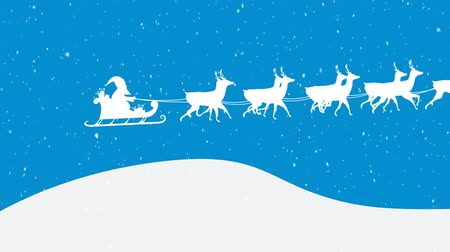 sob : Animation of a white silhouette of Santa Claus in sleigh being pulled by reindeers on a blue background Dostupné videozáznamy