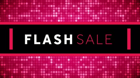 flash sale : Animation of the words Flash Sale in white and pink letters with pink mosaic borders on a black background