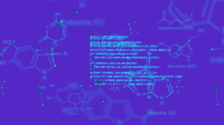 konstrukční prvky : Animation of blue spinning molecules and structural formula of chemical compounds with data processing on a purple background